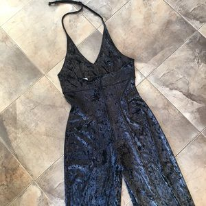 Vintage Pants - Vintage Velour Black + Gold Jumpsuit M